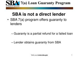 SBA is not a direct lender
