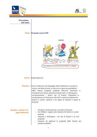Descrizione dell'unità Titolo    Frazioni con la LIM Autore    Barbara Bianconi