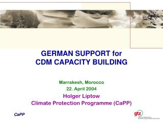 GERMAN SUPPORT for  CDM CAPACITY BUILDING