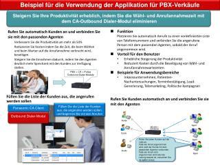 Beispiel für die Verwendung der Applikation für PBX-Verkäufe