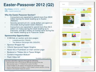 Why the Easter-Passover Section?