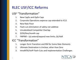 RLEC USF/ICC Reforms