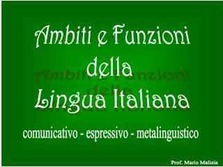 Ambiti e Funzioni della  Lingua Italiana