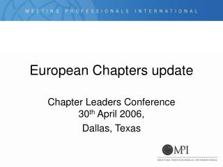 European Chapters update