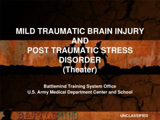 MILD TRAUMATIC BRAIN INJURY AND POST TRAUMATIC STRESS DISORDER (Theater)
