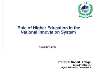 Role of Higher Education in the National Innovation System