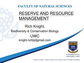 Reserve and resource management