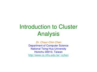 Introduction to Cluster Analysis