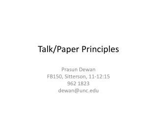 Talk/Paper Principles