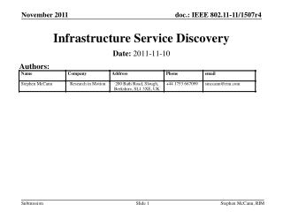 Infrastructure Service Discovery