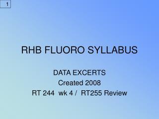 RHB FLUORO SYLLABUS