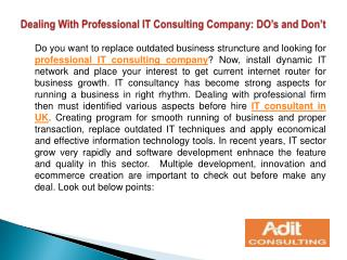 Dealing With Professional IT Consulting Company: DO's and Do