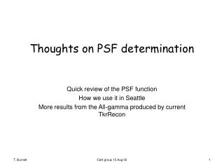 Thoughts on PSF determination