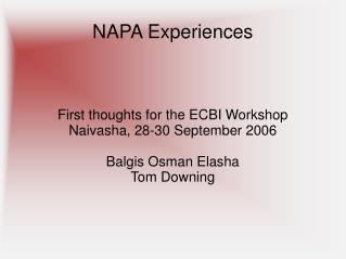 NAPA Experiences