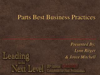 Parts Best Business Practices