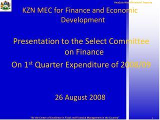 KZN MEC for Finance and Economic Development