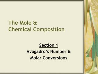The Mole & Chemical Composition