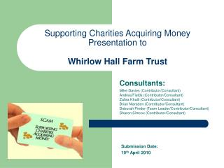 Supporting Charities Acquiring Money Presentation to Whirlow Hall Farm Trust