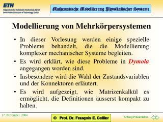 Modellierung von Mehrk�rpersystemen