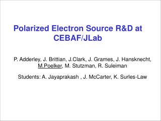 Polarized Electron Source R&D at CEBAF/JLab