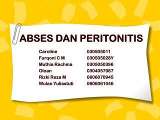 ABSES DAN PERITONITIS