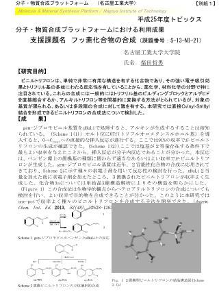 分子・物質合成プラットフォーム   (名古屋 工業 大学)