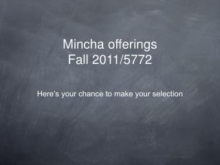 Mincha offerings Fall 2011/5772