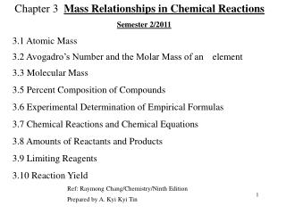 Chapter 3   Mass Relationships in Chemical Reactions Semester 2/2011