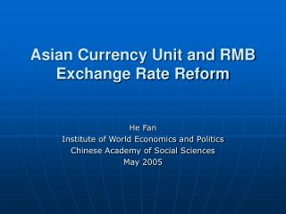 Asian Currency Unit and RMB Exchange Rate Reform