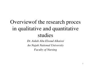 Overviewof the research proces in qualitative and quantitative studies
