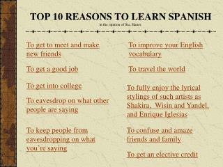 TOP 10 REASONS TO LEARN SPANISH  in the opinion of Sra. Hanes.