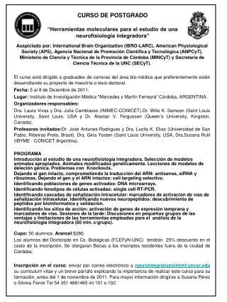 """CURSO DE POSTGRADO """"Herramientas moleculares para el estudio de una neurofisiología integradora"""""""
