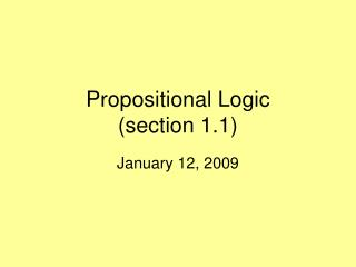 Propositional Logic (section 1.1)