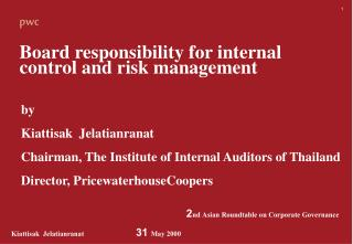Board responsibility for internal  control and risk management