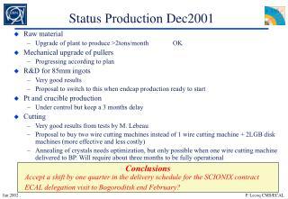 Status  Production  Dec2001
