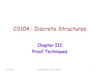 CS104 : Discrete Structures