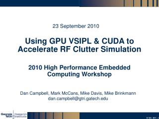 Using GPU VSIPL  CUDA to Accelerate RF Clutter Simulation