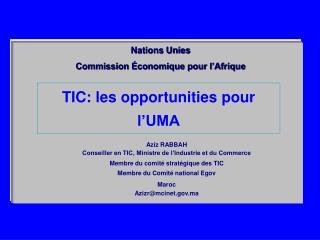 TIC: les opportunities pour l'UMA