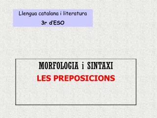 Llengua catalana i literatura 3r d'ESO