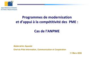 Programmes de modernisation  et d'appui à la compétitivité des  PME : Cas de l'ANPME