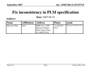 Fix inconsistency in PLM specification