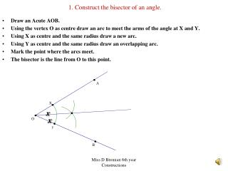 1. Construct the bisector of an angle.