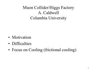 Muon Collider/Higgs Factory A. Caldwell Columbia University
