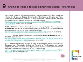 Ensino de Piano e Teclado X Ensino de Música - Referências