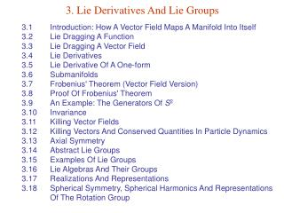 3. Lie Derivatives And Lie Groups