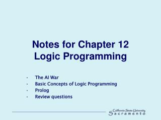 Notes for Chapter 12 Logic Programming