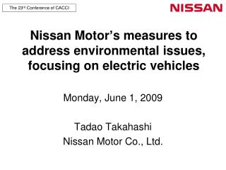 Nissan Motor's measures to address environmental issues, focusing on electric vehicles