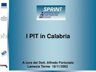I PIT in Calabria A cura del Dott. Alfredo Fortunato Lamezia Terme  18/11/2003
