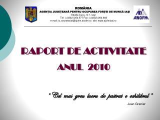 RAPORT DE ACTIVITATE ANUL  2010