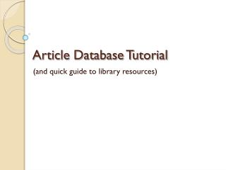 Article Database Tutorial